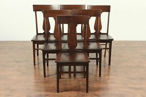 Set Of 6 Solid Oak Antique 1900 Dining Chairs 29092
