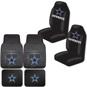 Nfl Dallas Cowboys Car Truck Front Back Rubber Floor Mats Seat Covers Set