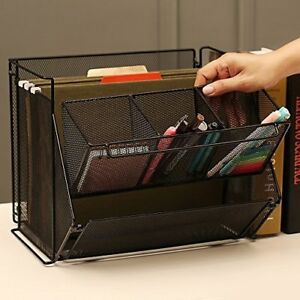 Ikee Design Black Metal Foldable Desk Supply Organizer