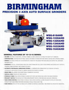 10 W 20 L Birmingham Wsg 1020ahd 3 Axis Automatic Surface Grinder Magnetic Ch