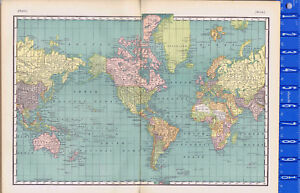 The World 1895 Antique Map