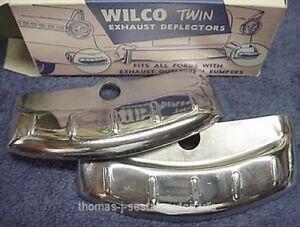 New Pair Of Original Wilcox Chrome Exhaust Deflectors 1956 Ford Fairlane