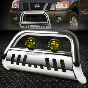 Chrome Bull Bar Grille Guard Yellow Fog Light For 05 Nissan Frontier Pathfinder