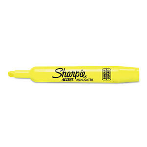 Sharpie Accent Tank Style Highlighter Chisel Tip Fluorescent Yellow 36 box