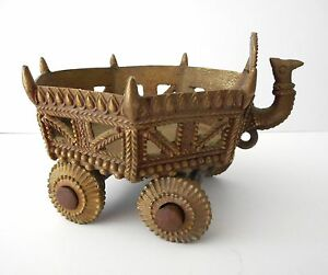 Antique Bronze Indian Asian Temple Toy Wheeled Cart Hindu