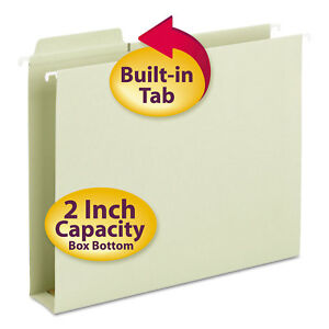 Smead Box Bottom Hanging Folders Built in Tabs Letter Moss Green