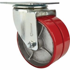 Strongway 8in Swivel Heavy duty Dual wheel Caster 2 600lb Cap Pur steel