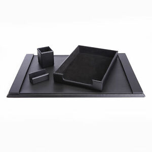 Royce Luxury Genuine Leather Suede lined Desk Set With Pen Cup Organizer Letter