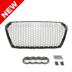 16 18 Audi A4 s4 B9 Rs4 Style Main Euro Mesh Badgeless Grille Gloss Black