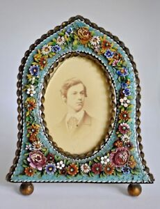 Lrg Unusual Shape Antique Victorian Micro Mosaic Italy Glass Tile Picture Frame