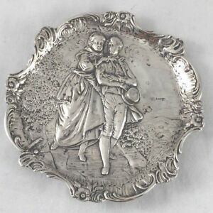 German 800 Sterling Figural Country Scene Footed Tray 5 X 5