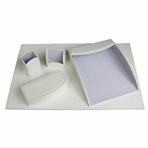 Daisy White 5 piece Leatherette Desk Set