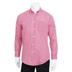 Chef Works D500wrc s Men s Red Gingham Dress Shirt s