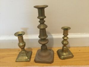 Lot Of Three Antique Unmatched Brass Candlesticks
