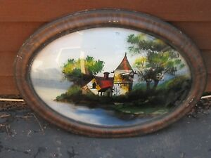 Vintage Oval Picture Frame Bowed Glass W Hand Painted Scene