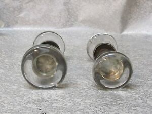 4 Vintage Clear Glass Door Knobs 2 Shafts