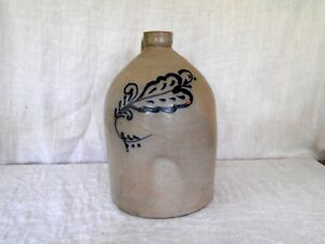 Antique Blue Feather Decorated Stoneware 2 Gal Jug Edmands Co Mass Nice Cond
