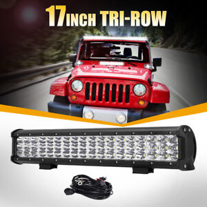 Tri row Cree 17 540w Led Light Bar Combo Offroad Driving 4wd Truck Atv 16 15