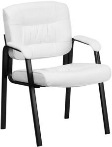 Black Frame White Leather Executive Desk Table Side Chair Home Office Guest Seat