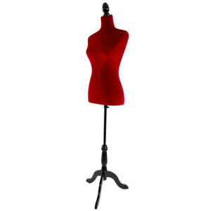Female Red Pattern On Red Fabric Mannequin Dress Form With Black Tripod Stand