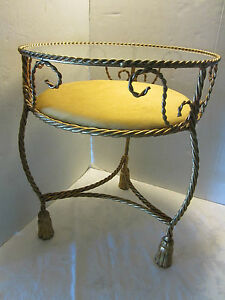 Italy Hollywood Regency Side Table Show Case Gold Gilt Metal Rope Tassel 20 T