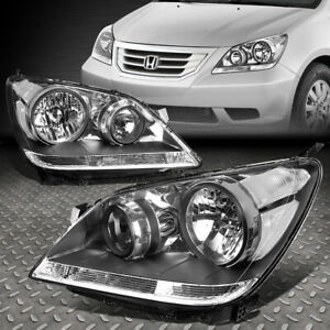 For 08 10 Honda Odyssey Black Housing Clear Corner Headlight Replacement Lamps