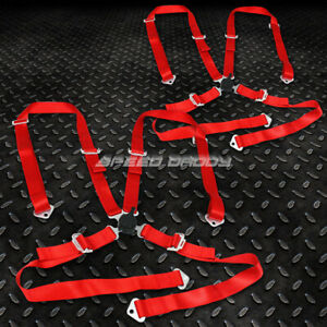 Pair Universal 4 Pt 2 Strap Camlock Drift Racing Safety Seat Belt Harness Red