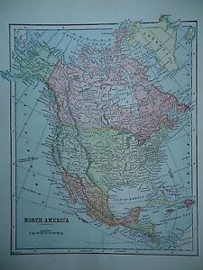 Vintage 1896 North America Map Old Authentic Antique Atlas Map 96 70318