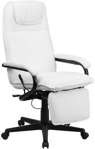 High Back White Leather Reclining Swivel Executive Chair Home Office Desk Seat