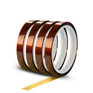 4 Rolls 10mm X 30m 100ft High Temperature Heat Resistant Kapton Polyimide Tape