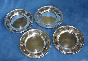 4 Wallace Rose Point Sterling Silver Bread Butter 4640 9 Plates Set 454 Grams