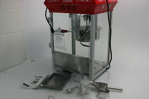 Olde Midway Bar Style Popcorn Machine Maker Popper W 8 Ounce Kettle Red Top