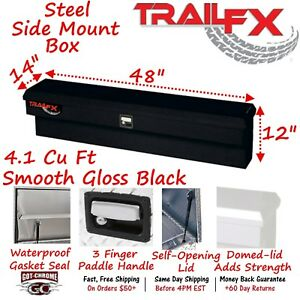 160482s Trailfx 48 Black Steel Side Mount Truck Tool Box
