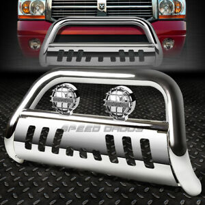 Chrome Bull Bar Grille Guard chrome Fog Light For 02 09 Dodge Ram 1500 2500 3500