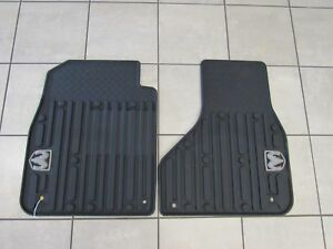 Dodge Ram Dark Slate Gray Front Rubber Slush Floor Mats W logo New Oem Mopar