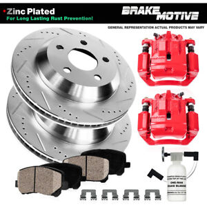 Rear Red Brake Calipers Rotors Pads For 2003 2004 2005 2006 2007 Jeep Liberty