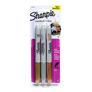 Sharpie Metallic Gold Silver Bronze Fine point Permanent Markers pack Of 4
