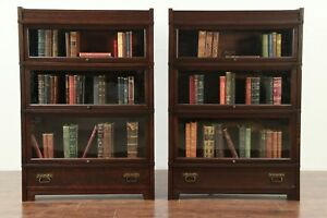 Pair Of Mission Oak Antique 3 Stacking Lawyer Bookcases Globe Wernicke 29158