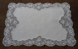 Vintage Linen French Embroidered Lace Tray Doily Placemat Butterflies