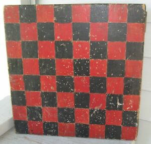 Antique Red Black Paint Wooden Gameboard Checkerboard Nicely Aged Patina