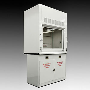 Chemical 4 Fume Hood With Flammable Base Storage Cabinets