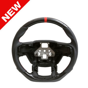 Handkraftd 2015 Ford F150 Steering Wheel Hydro Carbon leather red Stitch