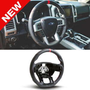Handkraftd 2015 Ford F150 Steering Wheel Black Perforated Leather Red Stitch