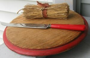 Antique Wooden Round Bread Board W Old Red Paint Border Nice Look
