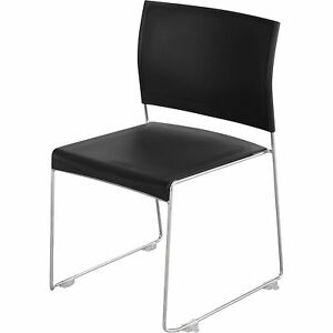 Mayline Safco Currant High density Stack Chairs Set Of 4 Chrome black