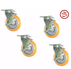 4 Swivel Plate Caster 6 x2 Floor Safe 6 yellow Poly Wheel 4 x4 1 2 Plate