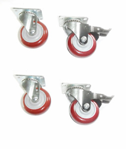 Set Of 4 Plate Casters With Floor safe 3 Maroon Poly Wheel 840 Cap