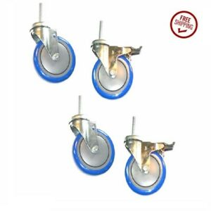Set Of 4 Stem Casters W 5 Polyurethane Wheels 1 2 Threaded Stems And 2 Brakes