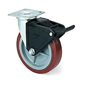 Colson Swivel Plate Caster With Non marking Polyurethane 8 X 2 Wheel And Brake