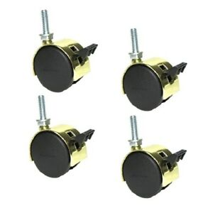 Set Of 4 Shepherd Pacer Twin Wheel 2 Caster Bright Brass Finish With 5 8 18